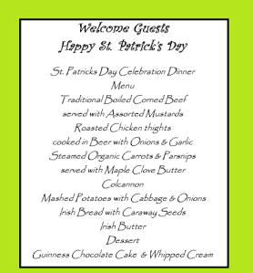 St. pats menu