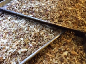 fresh trays of maple nut granola