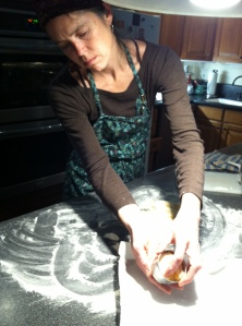 Kate working scone dough