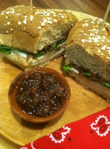 turkey sandwich with rhubarb chutney
